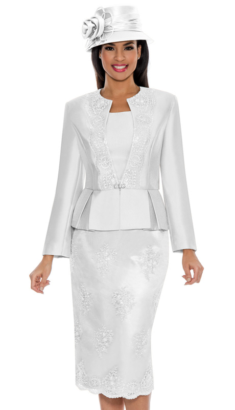 Ella Belle 0844-WH ( 3pc Silk Look With Lace Ladies Church Suit With Rhinestone Embellished, Pleated Peplum Jacket, Cami And Skirt )