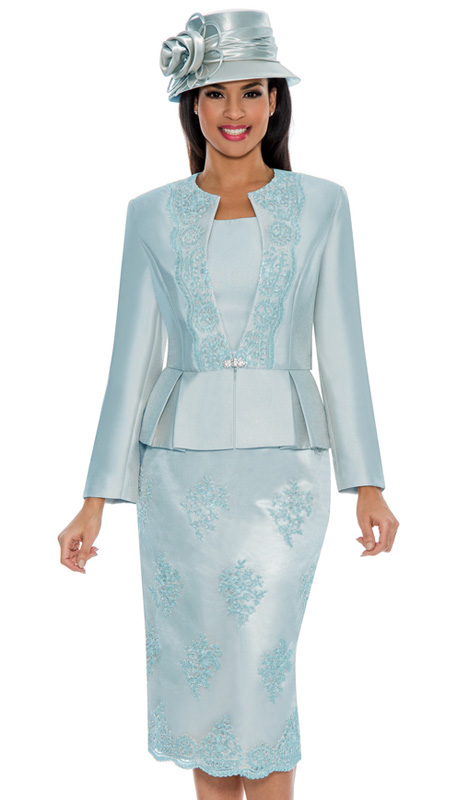Ella Belle 0844-BLU ( 3pc Silk Look With Lace Ladies Church Suit With Rhinestone Embellished, Pleated Peplum Jacket, Cami And Skirt )