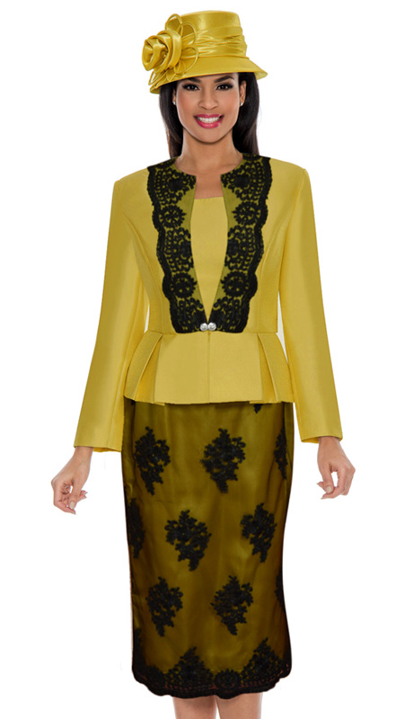 Ella Belle 0844-GO ( 3pc Silk Look With Lace Ladies Church Suit With Rhinestone Embellished, Pleated Peplum Jacket, Cami And Skirt )