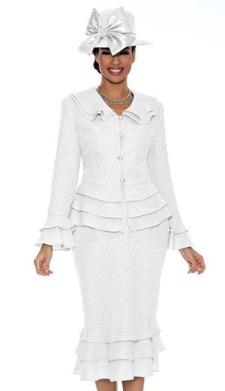 Ella Belle 0835-WH ( 2pc Brocade Ladies Church Dress With Layered Ruffles )