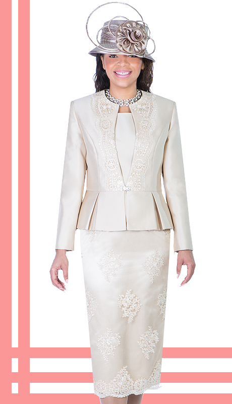 Ella Belle 0844-CH ( 3pc Silk Look With Lace Ladies Church Suit With Rhinestone Embellished, Pleated Peplum Jacket, Cami And Skirt )