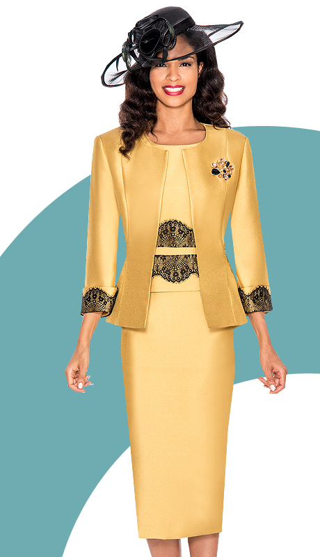 Ella Belle 0852-GB ( 3pc Silk Look Ladies Sunday Suit With Rhinestones Brooch )