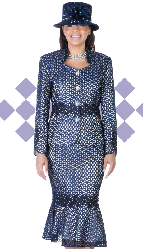 Ella Belle 0849-NW  ( 2pc Lace Women Sunday Suit With Cut-Ups And Rhinestones Details )