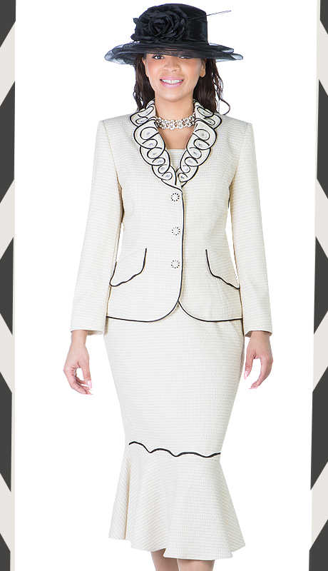 Ella Belle 0850-CB  ( 2pc Brocade  Ladies Church Suit With Fish Tail )