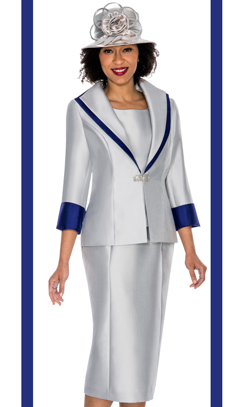 Ella Belle 0854-SP ( 3pc Silk Look Womens Church Suit With Wide Lapel And Rhinestone Buckle )