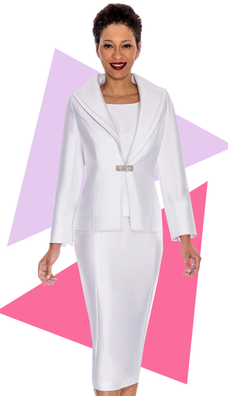 Ella Belle 0854-WHT  ( 3pc Silk Look  Women Sunday Suit With Rhinestone Buckle )