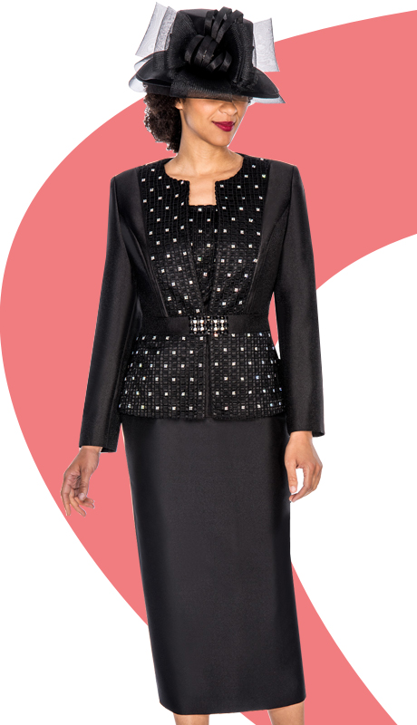 Ella Belle 0856-BLK  ( 3pc Silk Look Women Sunday Suit With Rhinestones Details )