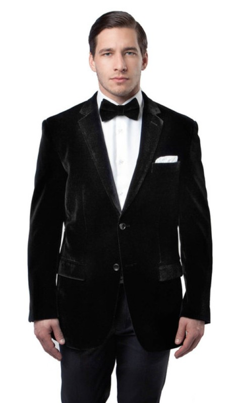 MJ111-01A ( 1pc Mens Two Button Velvet Blazer With One Chest Pocket And Two Front Pocket With Flap closure )