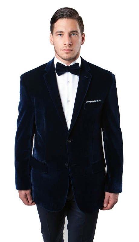 MJ111-02A ( 1pc Mens Two Button Velvet Blazer With One Chest Pocket And Two Front Pocket With Flap closure )