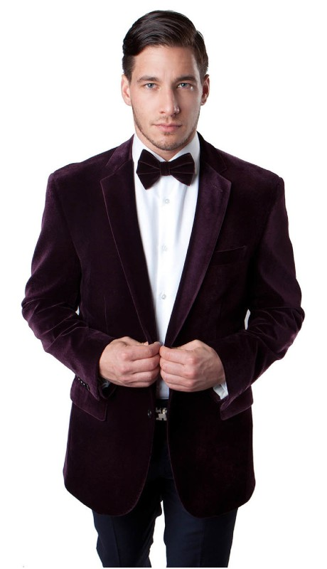 MJ111-03A ( 1pc Mens Two Button Velvet Blazer With One Chest Pocket And Two Front Pocket With Flap closure )