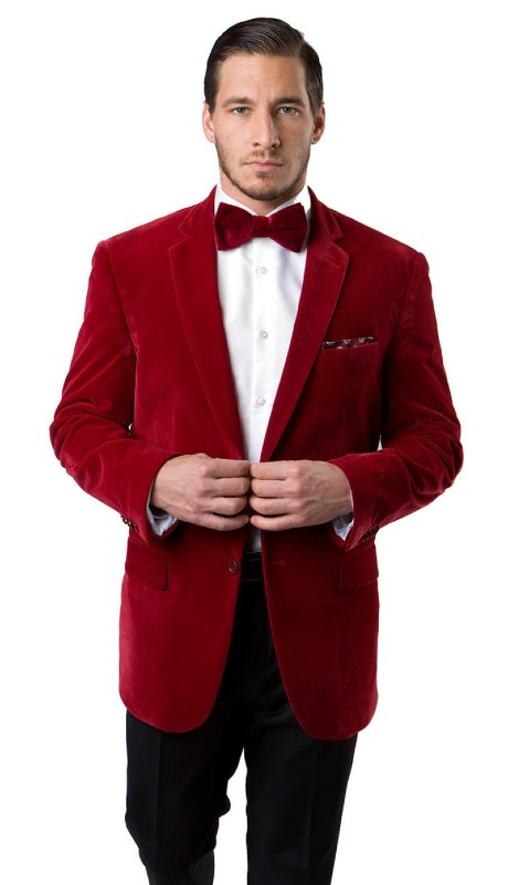 MJ111-04A ( 1pc Mens Two Button Velvet Blazer With One Chest Pocket And Two Front Pocket With Flap closure )