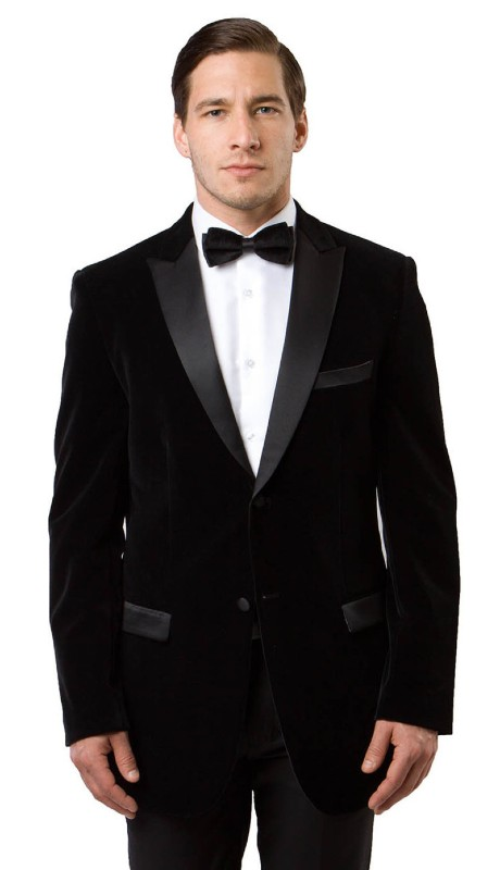 MJ114S-01A ( 1pc Mens Two Button Velvet Blazer With One Chest Pocket And Two Front Pocket With Flap closure )