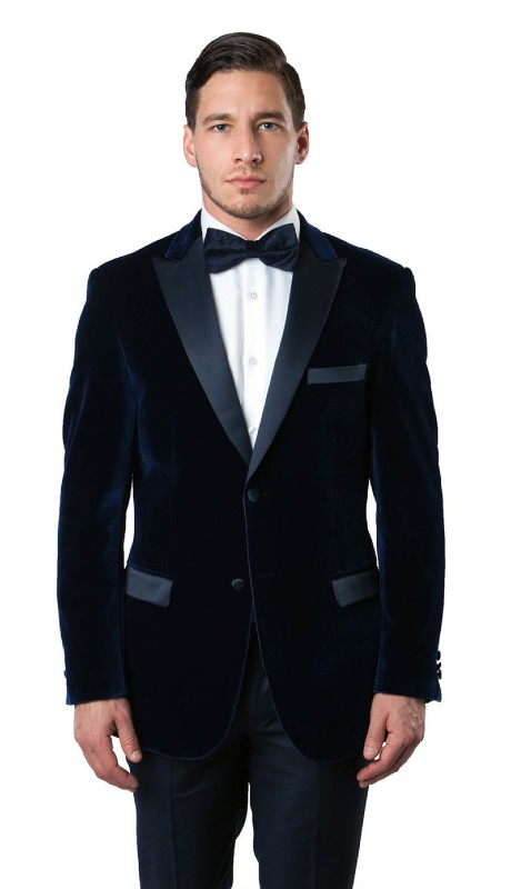 MJ114S-02A ( 1pc Mens Two Button Velvet Blazer With One Chest Pocket And Two Front Pocket With Flap closure )