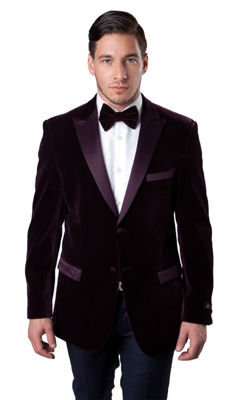 MJ114S-03A ( 1pc Mens Two Button Slim Fit Velvet Blazer With One Chest Pocket And Two Front Pocket With Flap closure )