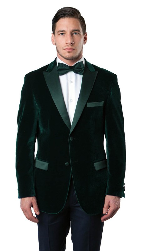 MJ114S-04A ( 1pc Mens Two Button Slim Fit Velvet Blazer With One Chest Pocket And Two Front Pocket With Flap closure )