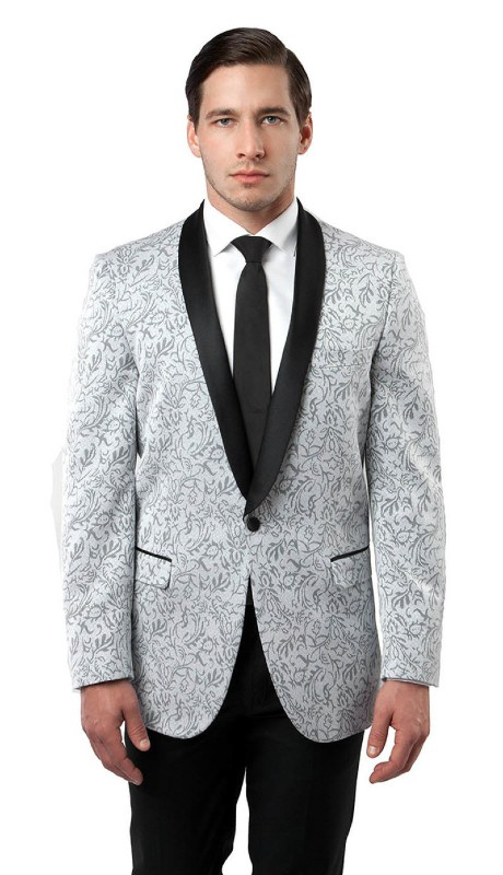 MJ124S-04 ( 1pc Mens One Button Shawl Lapel Floral Pattern Blazer With One Chest Pocket And Two Front Pocket With Flap closure )
