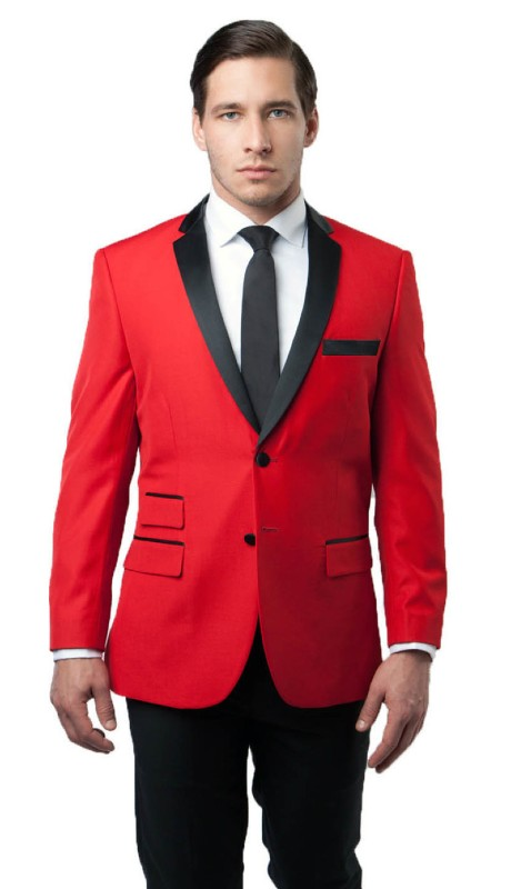 MJ136-01 ( 1pc Mens Two Button Notch Lapel Solid Jacket With One Chest Pocket And Two Front Pocket With Flap closure )