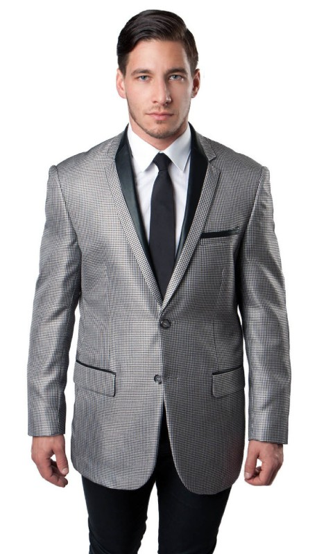 MJ139-01 ( 1pc Mens Two Button Notch Lapel Houndstooth Pattern Jacket With One Chest Pocket And Two Front Pocket With Flap closure )