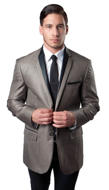 MJ139-04 ( 1pc Mens Two Button Notch Lapel Houndstooth Pattern Jacket With One Chest Pocket And Two Front Pocket With Flap closure )