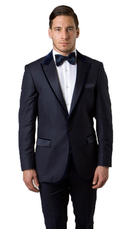 MJ144S-02 ( 1pc Mens One Button Peak Lapel Jacket With One Chest Pocket And Two Front Pocket With Satin Flap Closure )