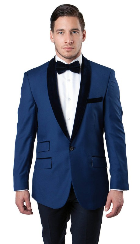 MJ145-01 ( 1pc Mens One Button Velvet Shawl Collar Jacket With One Chest Pocket And Two Front Pocket With Top Velvet Trim )