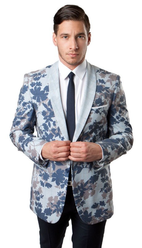 MJ148S-01 ( 1pc Mens Two Button Leaves Pattern Jacket With One Chest Pocket And Two Front Pocket With Front Closure )