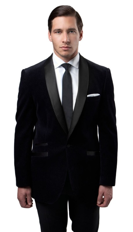 MJ159S-01 ( 1pc Mens One Button Single Breasted Velvet Slim Fit Jacket With One Chest Pocket And Satin Shawl Collar )
