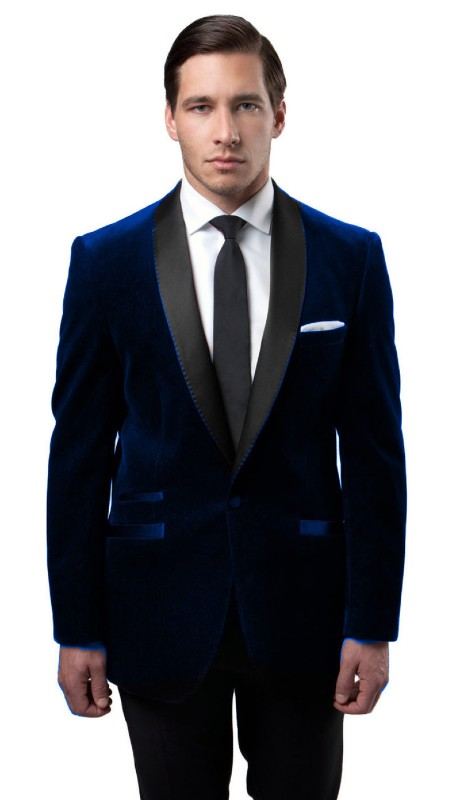MJ159S-02 ( 1pc Mens One Button Single Breasted Velvet Jacket With One Chest Pocket And Satin Shawl Collar )