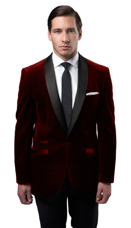 MJ159S-03 ( 1pc Mens One Button Single Breasted Velvet Jacket With One Chest Pocket And Satin Shawl Collar )