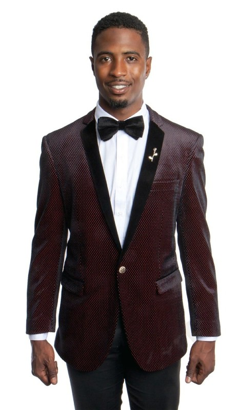 MJ161S-01 ( 1pc Mens One Button Velvet Notch Lapel Slim Fit Houndstooth Pattern Jacket With One Chest Pocket )