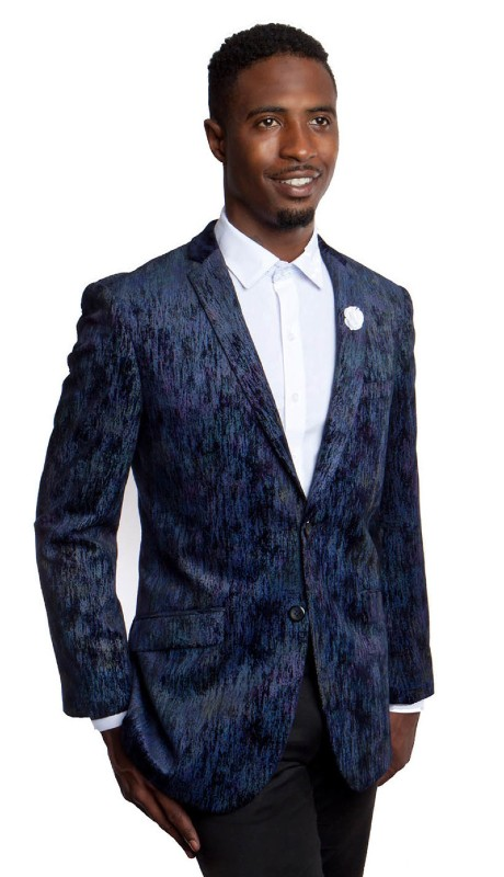 MJ164S-02 ( 1pc Mens Two Button Notch Lapel Tie Dye Gradient Blazer With One Chest Pocket )