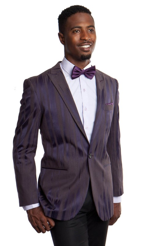 MJ166S-02 ( 1pc Mens One Button Peak Lapel Slim Fit Tie Dye Gradient Blazer With One Chest Pocket )