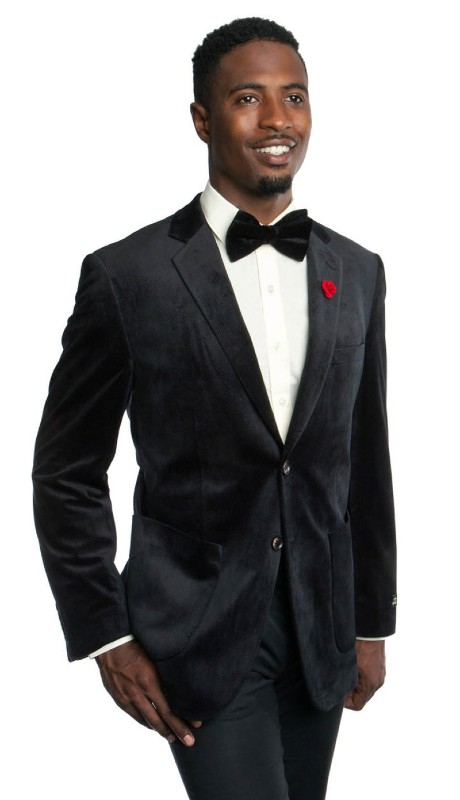 MJ176S-02 ( 1pc Mens Two Button Notch Lapel Velvet Solid Jacket With One Chest Pocket And Two Pocket With Front Closure )