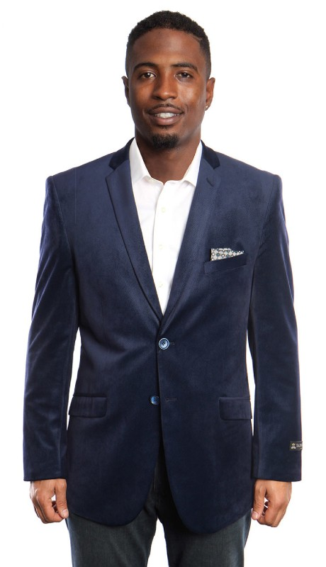 MJ177S-B1 ( 1pc Velvet Mens Two Button Jacket With One Chest Pocket And Two Front Pocket )