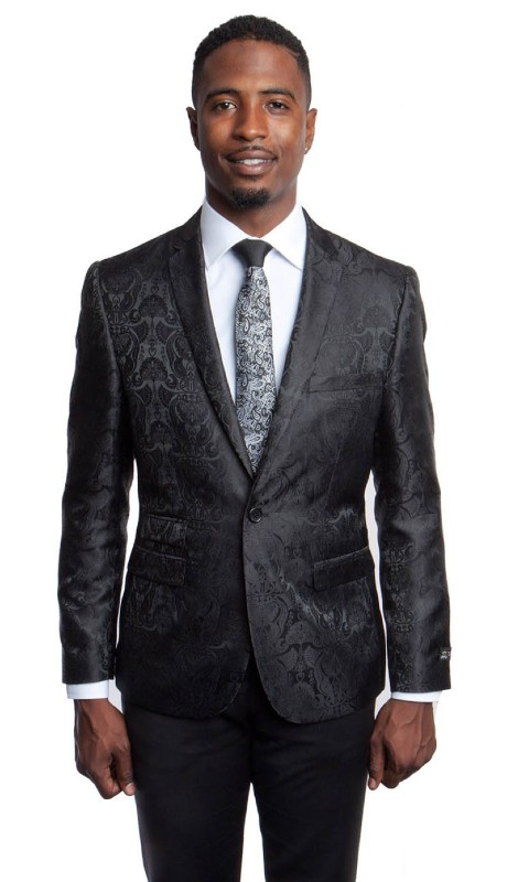 MJ181S-01 ( 1pc Mens One Button Notch Lapel Modern Fit Floral Pattern Jacket With One Chest Pocket )