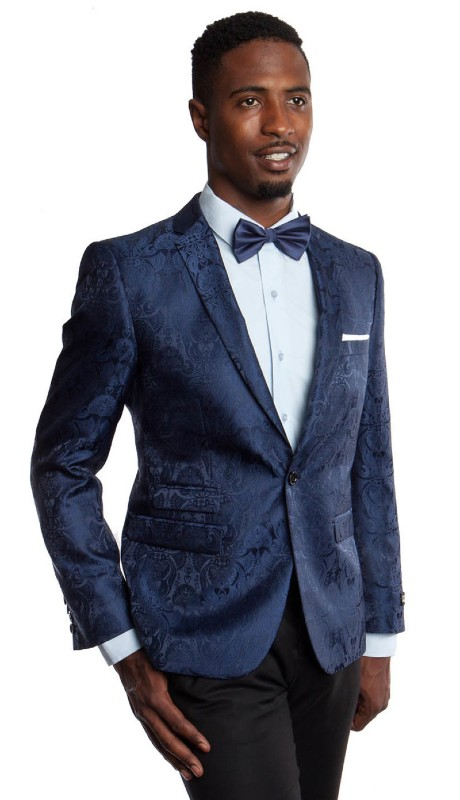 MJ181S-02 ( 1pc Mens One Button Notch Lapel Modern Fit Floral Pattern Jacket With One Chest Pocket )