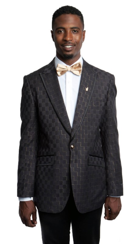 MJ185-01 ( 1pc Mens One Button Peak Lapel Modern Fit Geometric Print Jacket With One Chest Pocket )