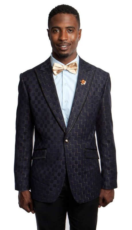 MJ185-02 ( 1pc Mens One Button Peak Lapel Modern Fit Geometric Print Jacket With One Chest Pocket )