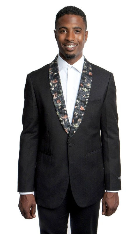 MJ186-01 ( 1pc Mens One Button Floral Print Shawl Collar Modern Fit Jacket With One Chest Pocket )