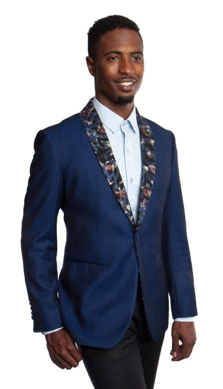 MJ186-02 ( 1pc Mens One Button Floral Print Shawl Collar Modern Fit Jacket With One Chest Pocket )