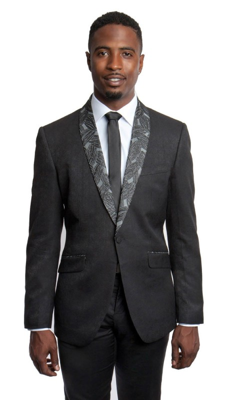 MJ190-01 ( 1pc Mens One Button Shawl Collar Modern Fit Patterned Solid Texture Jacket With One Chest Pocket )