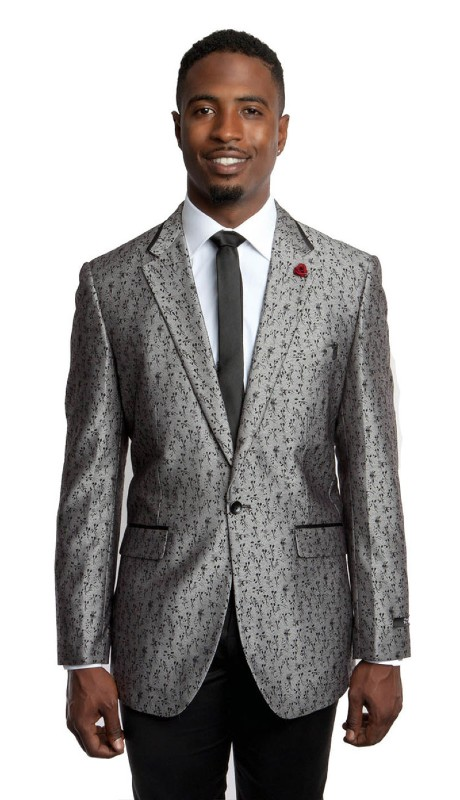 MJ191-01 ( 1pc Mens One Button Notch Lapel Floral Pattern Jacket With One Chest Pocket )