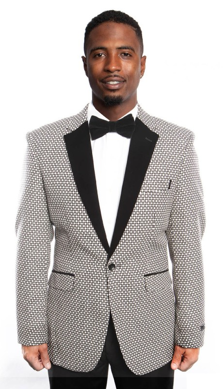 MJ194-01 ( 1pc Mens One Button Wide Notch Lapel Modern Fit Houndstooth Pattern With One Chest Pocket )