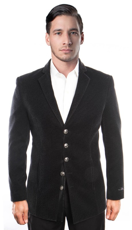 MJ195S-01 ( 1pc Mens Five Button Notch Lapel Solid Jacket With Vertical Pocket )
