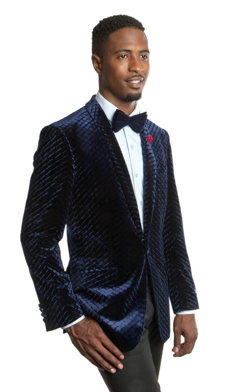 MJ197S-02 ( 1pc Mens One Cover Button Shawl Collar Velvet Patterned Jacket With One Chest Pocket )
