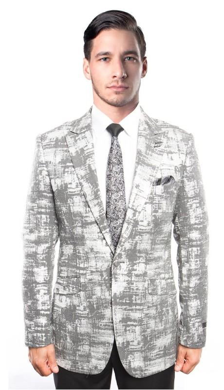 MJ211-01 ( 1pc Mens One Button Peak Lapel Modern Fit Tie Dye Gradient Jacket With One Chest Pocket )