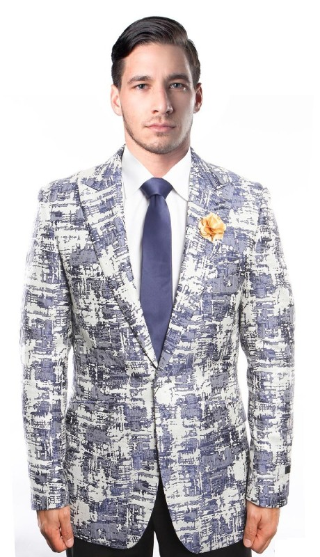 MJ211-02 ( 1pc Mens One Button Peak Lapel Modern Fit Tie Dye Gradient Jacket With One Chest Pocket )