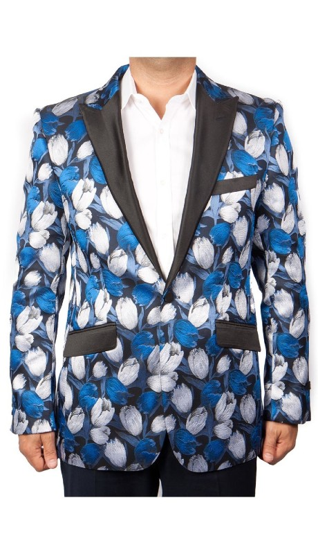 MJ212-01 ( 1pc Mens One Button Satin Peak Lapel Modern Fit Tulip Pattern Jacket With One Chest Pocket )