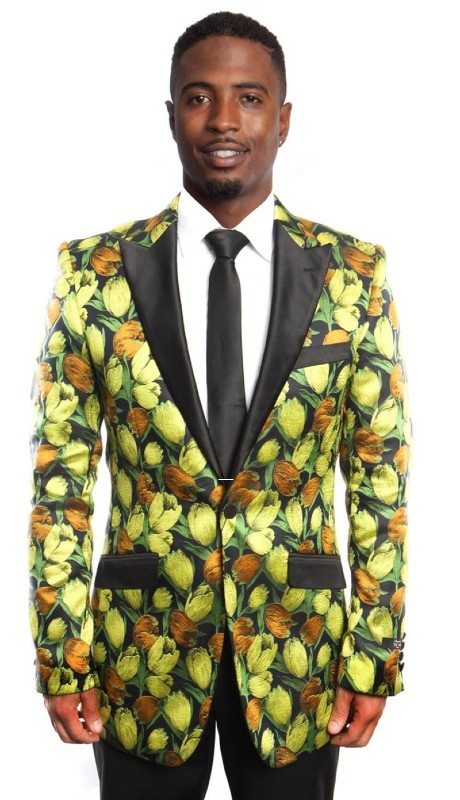 MJ212-02 ( 1pc Mens One Button Satin Peak Lapel Modern Fit Tulip Pattern Jacket With One Chest Pocket )