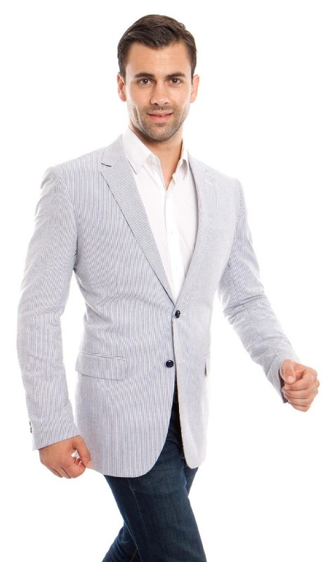 MJ214H-01 ( 1pc Mens Two Button Notch Lapel Slim Fit Pin Stripe Seersucker Jacket With One Chest Pocket )